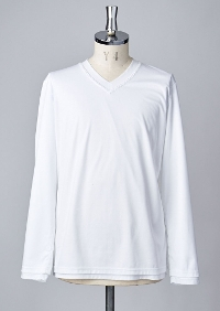 【AKM】L/S HAND STITCH V-NECK -WHITE-