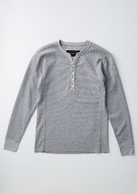 【AKM】FINE COTTON THERMAL L/S HENRY -GRAY-