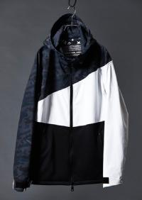 【AKM】LUXSPO DIAGONAL WHITE COMBI ZIP UP BLOUSON